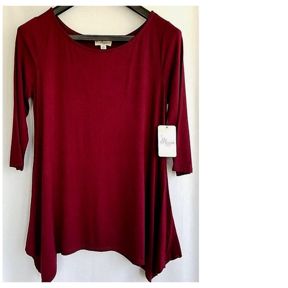 b324408b4b Misia Top Wine Burgundy 3 4 Sleeve S NWT